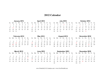 2012 Calendar (horizontal, descending, holidays in red) Calendar