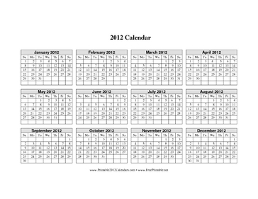 2012 Calendar on one page (horizontal grid) Calendar