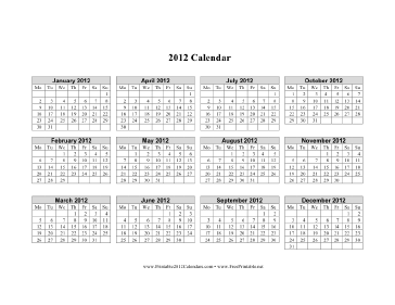 2012 Calendar on one page (horizontal, week starts on Monday) Calendar