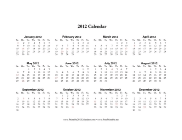 2012 Calendar on one page (horizontal, holidays in red) Calendar