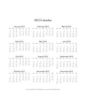2012 Calendar on one page (vertical) Calendar