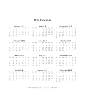 2012 Calendar (vertical, descending, holidays in red) Calendar