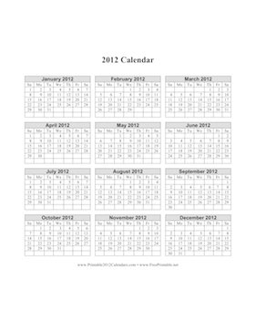 2012 Calendar on one page (vertical grid) Calendar