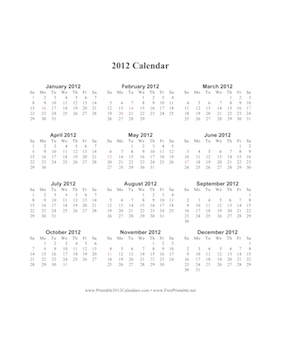 2012 Calendar on one page (vertical, holidays in red) Calendar